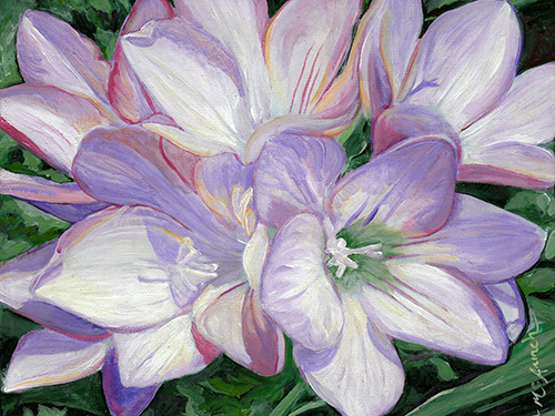 Freesias acrylic painting